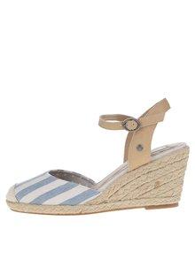 Krémovo- modré pruhované sandály na klínku Pepe Jeans Kinney