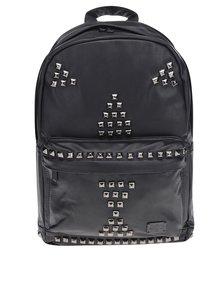 Čierny unisex batoh s plastickými ozdobnými detailmi Spiral Bijoux