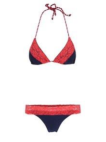 Červeno-modré dvojdielne plavky s čipkou Relleciga