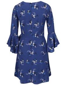 Tmavomodré kvetované šaty s volánmi Miss Selfridge