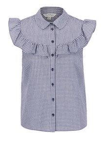 Modrá kockovaná košeľová blúzka s volánikom Miss Selfridge