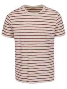 Krémové pruhované tričko s krátkym rukávom Selected Homme Kris