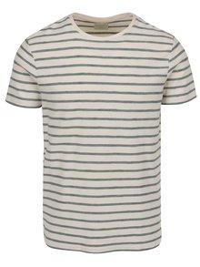 Krémové triko s tyrkysovými pruhy a krátkým rukávem Selected Homme Kris