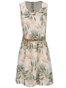 Béžové kvetované šaty s opaskom ONLY Lia