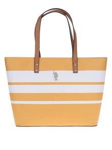 Bílo-žlutá pruhovaná kabelka U.S. Polo Assn.