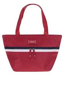Červená kabelka s bielo-modrým zipsom U.S. Polo Assn.