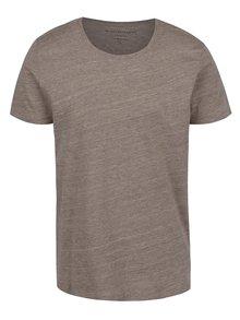 Hnědé žíhané triko s krátkým rukávem Selected Homme Pima