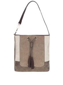 Krémovo-hnedá kabelka so strapcami U.S. Polo Assn.