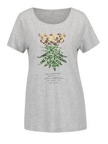 Šedé tričko s potiskem ananasu ONLY Kita