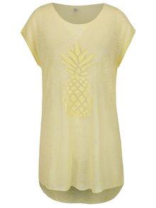 Žluté průsvitné dlouhé tričko s potiskem ananasu ONLY Malou