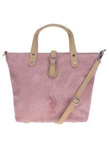 Světle růžová kabelka s béžovými detaily U.S. Polo Assn.
