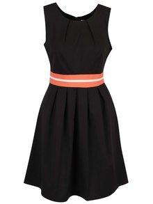 Černé šaty s oranžovým pruhem v pase Apricot