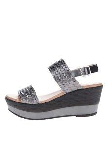 Tmavě šedé kožené sandály na platformě OJJU