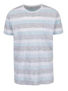 Pruhované tričko v bielej, modrej a sivej farbe !Solid Ham
