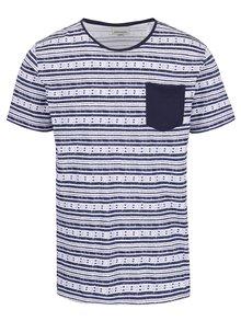 Bielo-modré vzorované tričko s vreckom Shine Original