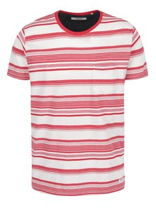 Krémovo-červené pruhované tričko !Solid Halston
