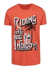 Oranžové tričko s potlačou a krátkym rukávom !Solid Hanlee