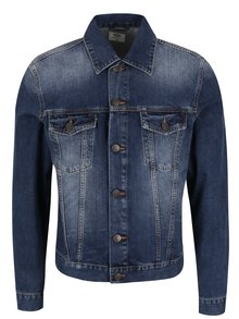 Jachetă albastru închis Cross Jeans din denim cu croi drept