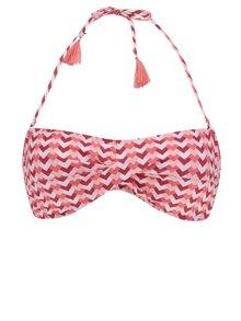 Sutien de baie bandeau roz&roșu Dorothy Perkins cu baretă halter