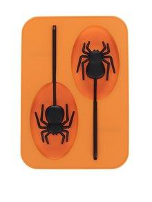 Oranžová silikónová forma na ľad s umelým pavúkom Kikkerland