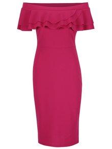Ružové šaty s odhalenými ramenami a volánmi Dorothy Perkins
