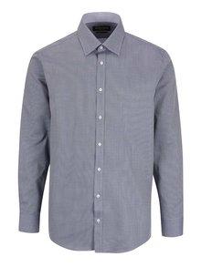 Modrá vzorovaná pánska slim fit košeľa STEVULA