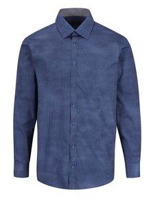 Tmavě modrá formální vzorovaná pánská slim fit košile STEVULA