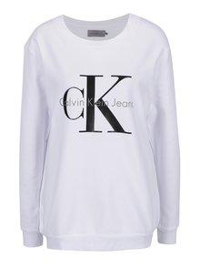 Biela mikina s potlačou v čiernej farbe Calvin Klein Jeans Crew