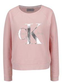 Ružová dámska mikina s potlačou v striebornej farbe Calvin Klein Jeans Hanna