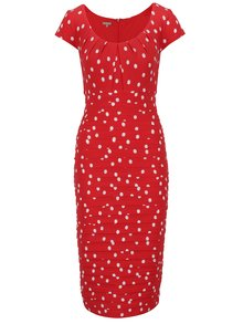 Červené pouzdrové puntíkované šaty M&Co