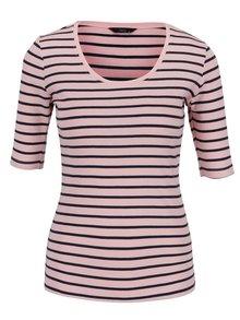 Bluză roz M&Co din bumbac cu model în dungi și mâneci medii