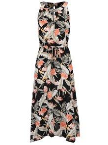 Zeleno-čierne kvetované šaty so zaväzovaním v páse M&Co