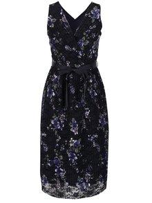 Rochie plisată albastru închis M&Co cu model floral și croi suprapus