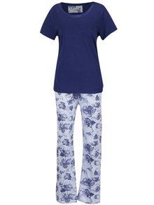 Pijama albastru & alb M&Co cu model floral