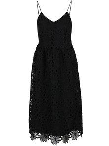 Čierne čipkované šaty na tenké ramienka VILA Dalton