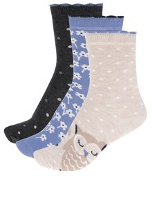 Sada tří párů dámských vzorovaných ponožek v modré a béžové barvě M&Co