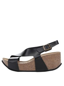 Černé dámské sandály na korkové platformě OJJU