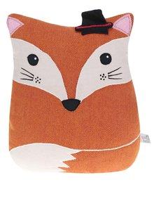 Oranžový vankúš v tvare líšky s prímesou ľanu Sass & Belle Alfie Fox