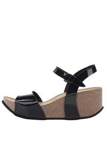 Černé dámské lesklé sandály s kovovým detailem OJJU