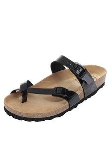 Čierne dámske lesklé sandále s prackami OJJU