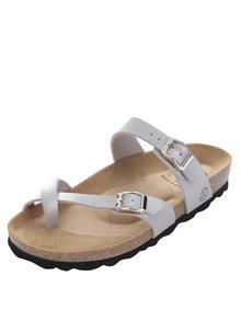 Dámské sandály ve stříbrné barvě s přezkami OJJU