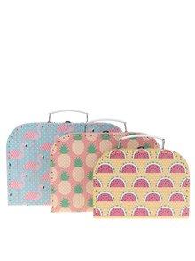 Súprava troch kufríkov v modrej, žltej a ružovej farbe Sass & Belle