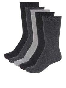 Sada pěti  párů ponožek v šedé barvě M&Co
