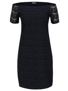 Tmavě modré krajkové šaty s odhalenými rameny VILA Monie