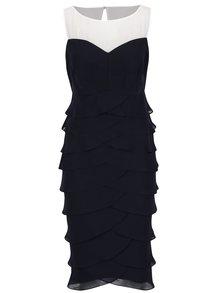 Modré puzdrové šaty s volánmi M&Co