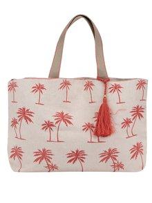 Béžová platenná plážová taška s potlačou M&Co