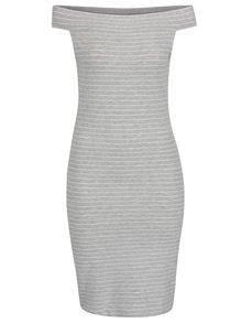 Světle šedé pruhované šaty s odhalenými rameny ONLY Cornelia