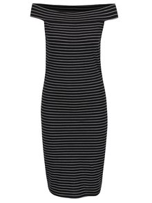 Černé pruhované šaty s odhalenými rameny ONLY Cornelia