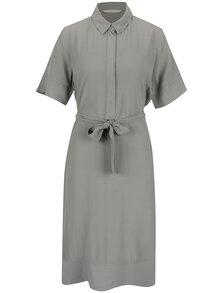 Sivé šaty s opaskom a golierom YAYA