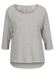 Bluză gri ONLY Hanna cu inserție din dantelă